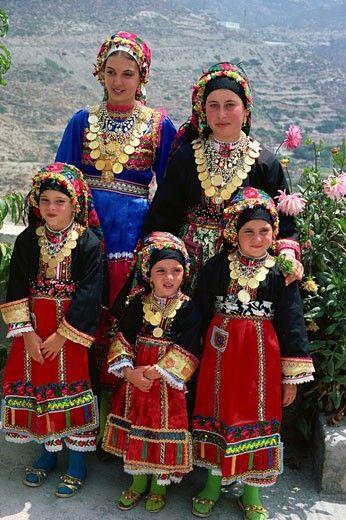 Traditional costumes worn by women during church festival, Paneggri, Olimbos, Karpathos, Greek Islands, Greece, Europe