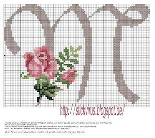 alphabet - m - rose - point de croix - cross stitch - Blog : http://broderiemimie44.canalblog.com/