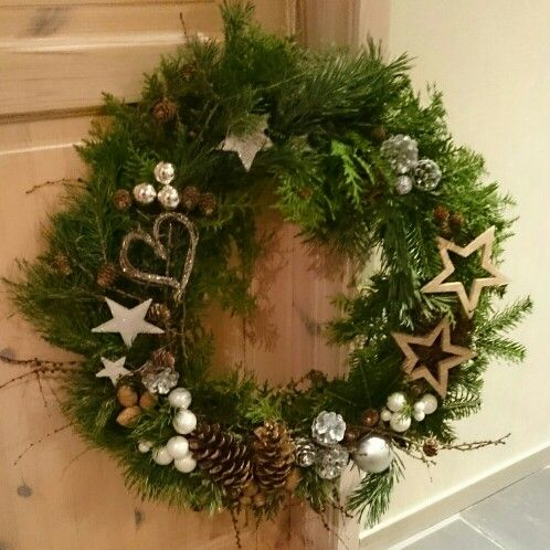Dørkrans, julekrans,  kongle, lerk, tuja, furu, stjerne, wreath,  star, larch, pine cone,  christmas,  hart, silver