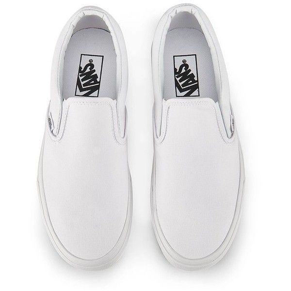 Vans Classic Slip-On Canvas Trainers - True White (3,030 PHP) ❤ liked on Polyvore featuring men's fashion, men's shoes, men's sneakers, shoes, mens skate shoes, mens slip on shoes, mens white shoes, mens white sneakers and mens slipon shoes