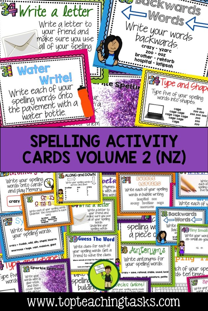 "This Spelling Activity Pack includes: •	20 Spelling Activity Task Cards •	Print and Go Spelling Activity Worksheets  •	Must Do, Choose Two Display Headings •	A Tips For Use instruction sheet  Students love choice! By using the ""Must Do, Choose Two"" system, students are reinforcing their spelling knowledge, while also gaining some choice and independence as to which activities they complete."