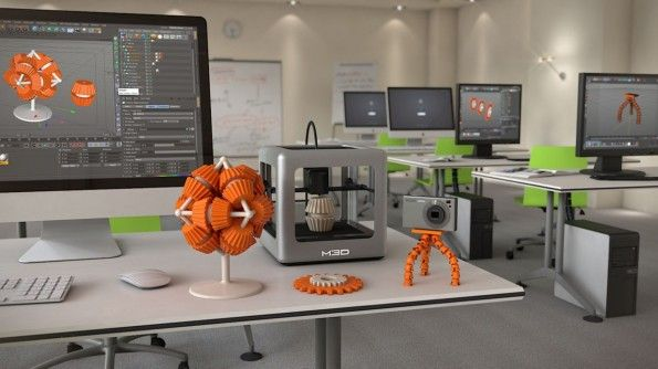 3D drucker für 150 euro. Der M3D wiegt nur ca. ein Kilogramm, weil seine Führungen aus Kohlefaser und nicht aus Metall gefertigt sind. (Quelle: themicro3d.com)