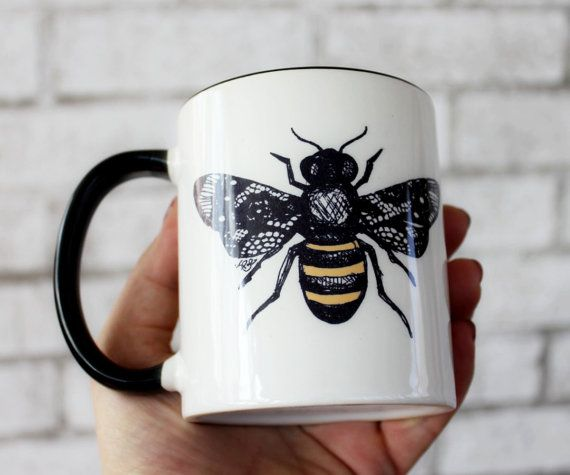 Thank you so much for visiting causticthreads.com! Bumble Bee Coffee Cup, Sublimated 11 oz Sublimated Mug, Honey Bee, Flower Garden Insect, Made