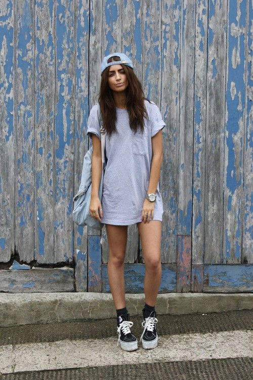 vans + loose striped t-shirt dress with pocket + baseball cap backwards + watch + black socks + bag