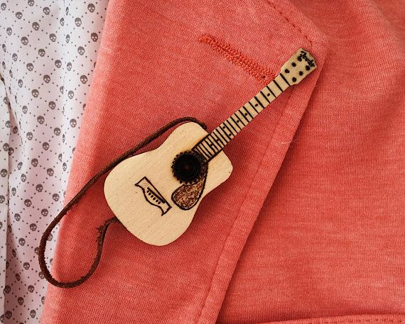Mens jewelry personalized Acoustic guitar brooch Personalized guitar pin Wooden badge for boyfriend