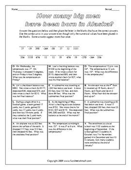 Adding and Subtracting Integer Word Problems   Algebra and Middle ...