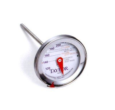 "Five Star Commercial Professional Meat Thermometer [Set of 6] by Taylor. $83.94. Taylor 5990N Meat Thermometer, 2.75-in Dial w/ Prep Scale, 120 to 250 F Degrees. 5990N Features: -Meat thermometer.-Professional quality and accuracy.-Deluxe easy-to-read stainless steel 2.875"" dial.-Preparation scale for various meats.-Temperature range: 130° to 200° F.-4.5"" Stem.-NSF listed. Construction: -Durable stainless steel construction. Dimensions: -Overall dimensions: 9"" H x 2.9"" W x 4.5""..."