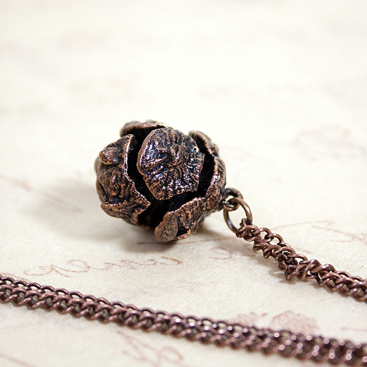 electroform pendant antiqued copper encased conifer cone
