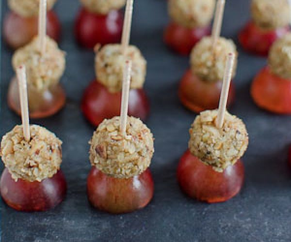 Warning these little blue cheese walnut and grape for Gluten free canape ideas