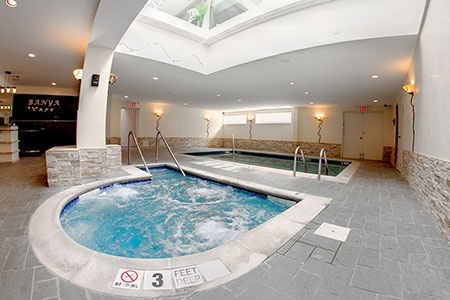 Jacuzzi, pool, saunas, heat rooms at Euphora Salon & Medi Spa in Astoria, NY