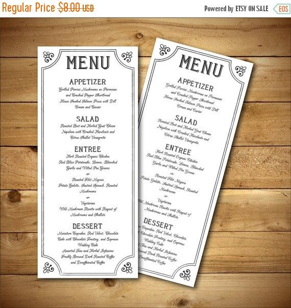 printable vintage style wedding menu template by birdiydesign