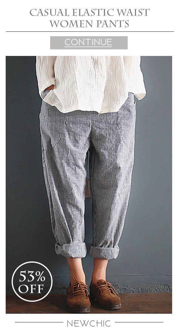[Newchic Online Shopping] 53%OFF Casual Stripe Loose Elastic Waist Women Pants With Pockets