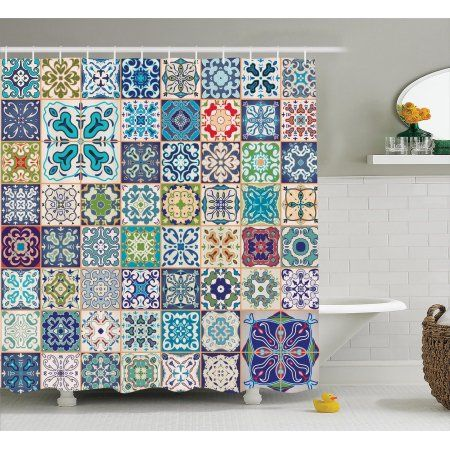 Moroccan Decor Shower Curtain Set, Floral Patchwork Design With Arabesque Figure And Shapes Mediterranean Symbolic Artisan Work, Bathroom Accessories, 69W X 70L Inches, By Ambesonne