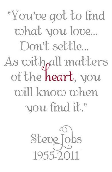 You've got to find what you love, don't settle // as with all matters of  the heart, you will know when you find it // Steve Jobs