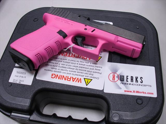 Glock 19 Gen 3 9mm X-Werks Prison Pink Cerakote Glock Pistols - it's a pink gun and I want it!!!!