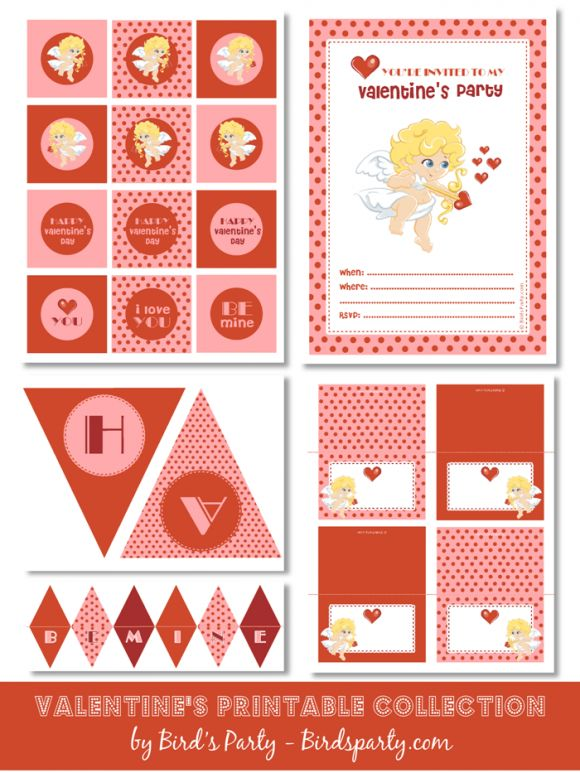 Free Sweet Cupid Valentine's Day printable collection