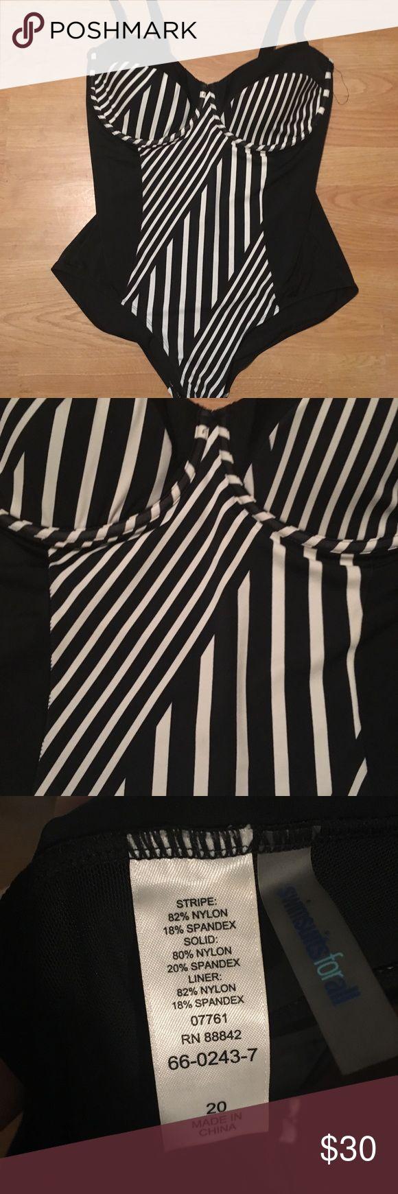 Striped Underwire One Piece Swimsuit Striped Underwire One Piece Swimsuit   Grea…