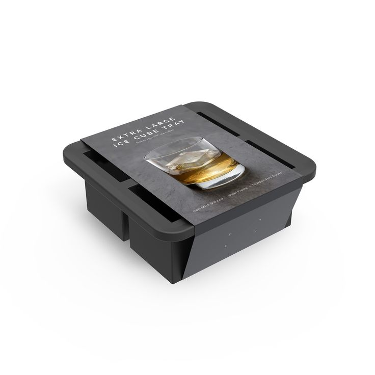 Assembly Brands - Silicone Ice Tray - 4 Cube - Charcoal Gray, Black
