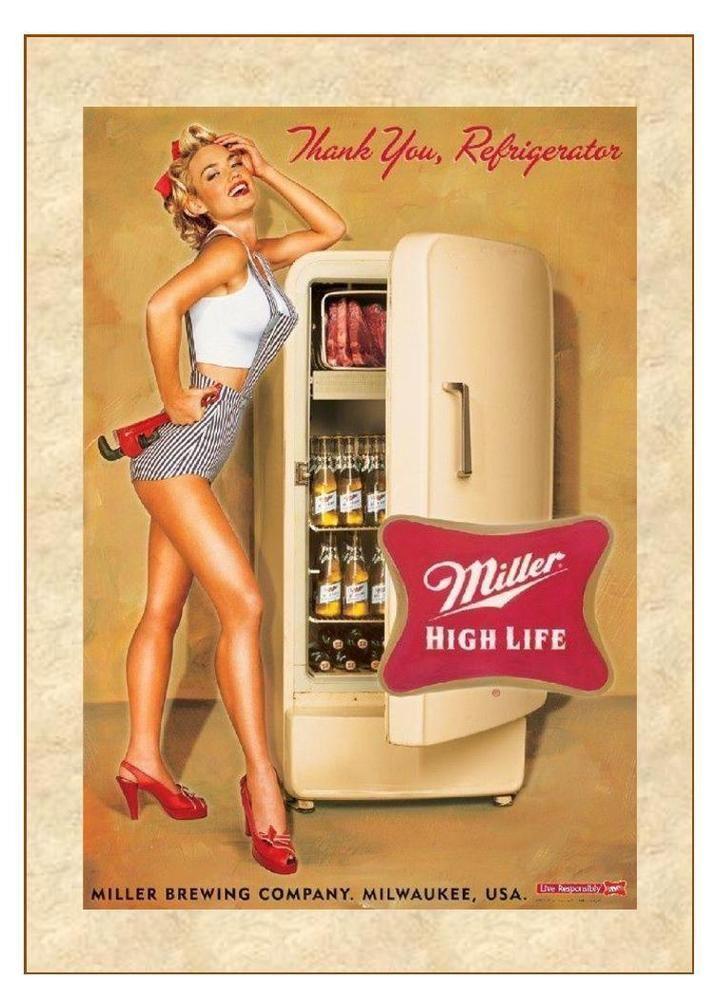 Miller High Life Vintage Beer Sign Beer Sign Beer AD Man Cave 5X7 Photo