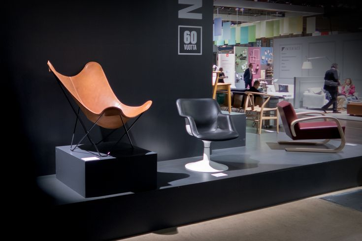 The beautiful Cuero leather butterfly chair sitting front stage and centre at the Habitare Fair, the leading interior decoration, furniture and design event in Finland.