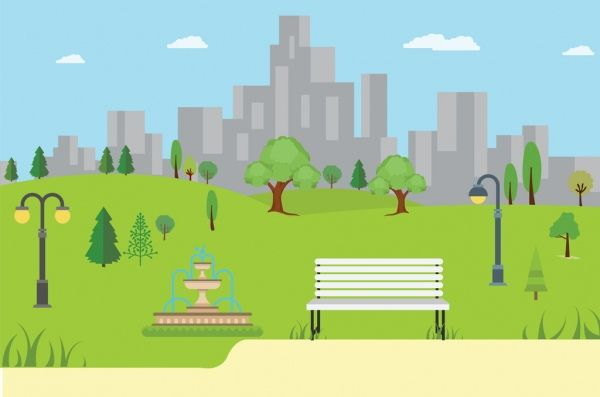 Park Background Vector Free Backgrounds Free Cartoon Trees