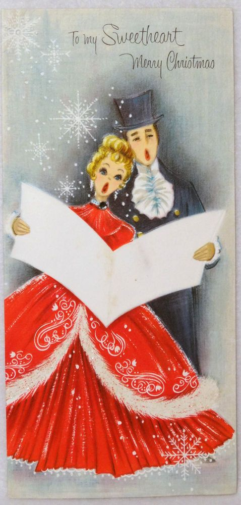 Vintage Christmas Greeting Card ~ 1950's Pretty Singing Lady in Glittered Dress