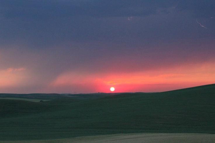Lightning sunset over the Palouse. July 12, 2012