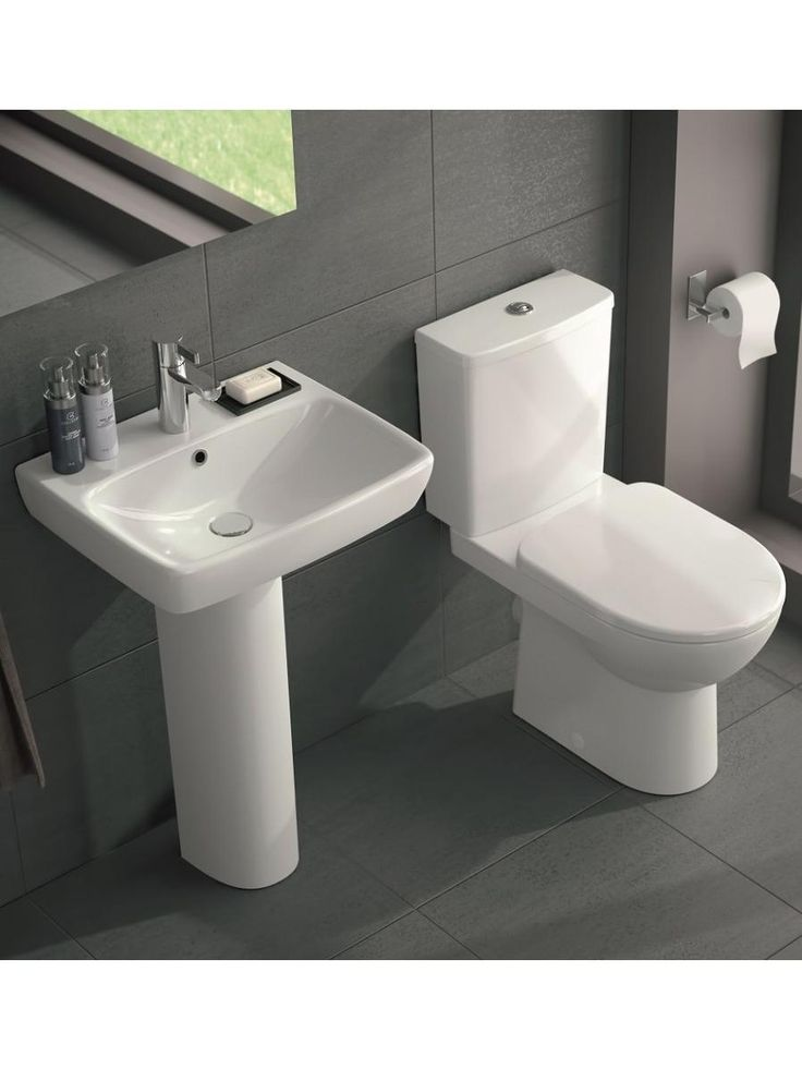 Toilet U0026 Basin Suite   Twyford E100 Square Close Coupled Cistern WC U0026