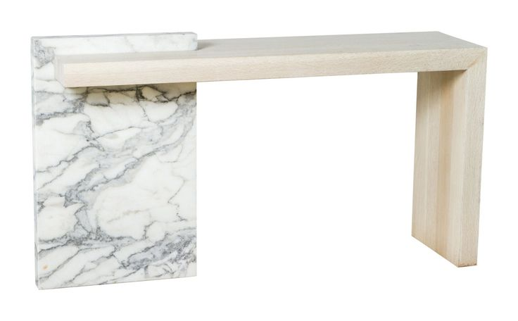 Paul Marra Marble And Bleached Oak Console  Contemporary, MidCentury  Modern, Transitional, Stone, Wood, Console Table by Paul Marra Design
