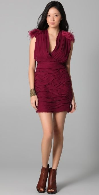 Madison Marcus Drama Dress with Feathers thestylecure.com