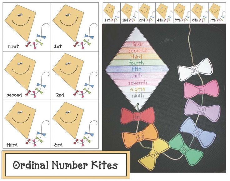 Here's a set of kite-themed ordinal number cards. Also includes materials for creating ordinal number kites.