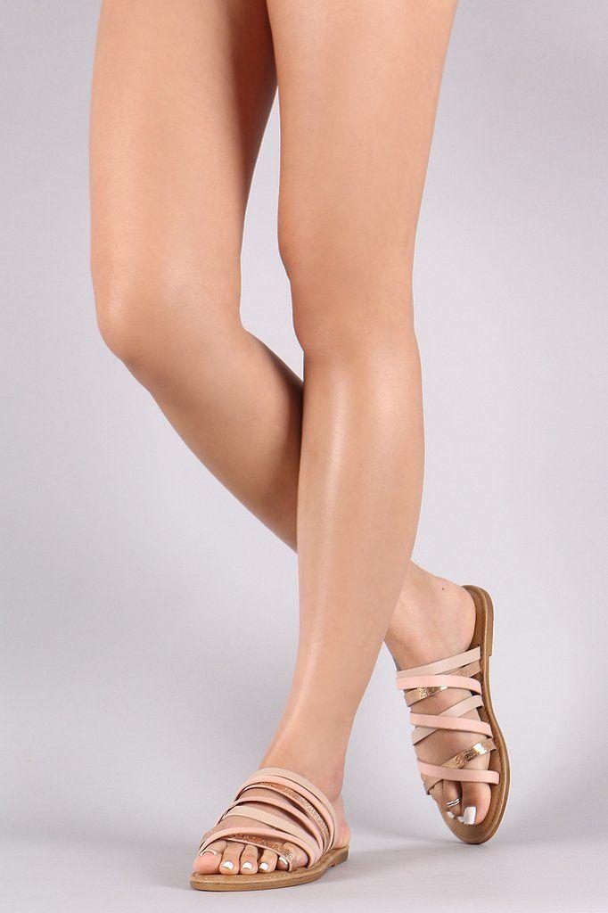 cc4dfdfae005 Bamboo Open Toe Strappy Tri-Tone Slide Sandal