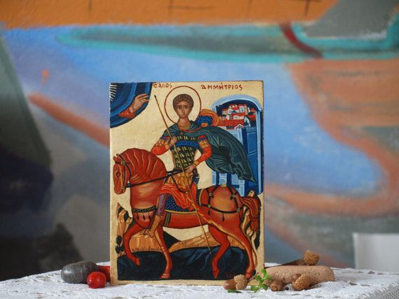 St. Demetrius of Thessalonica Byzantine greek icon of by angelicon