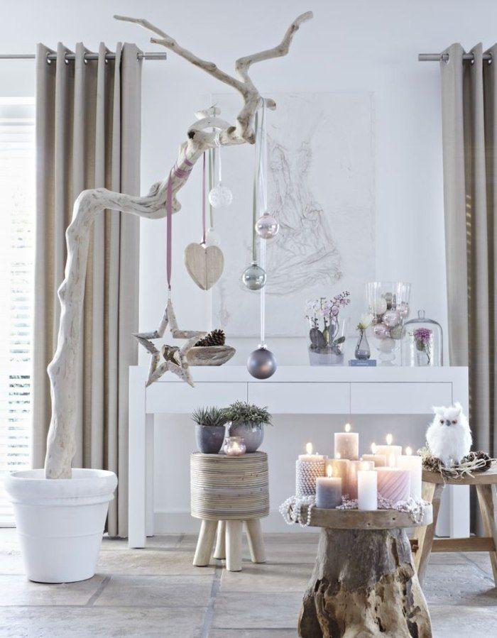 skandinavischer Stil Weihnachtsdeko - Echtholz, Weiß und helle Lilatöne