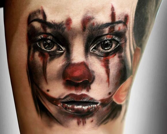 Tattoo Artist - Silvano Fiato | www.worldtattoogallery.com/clown_tattoo
