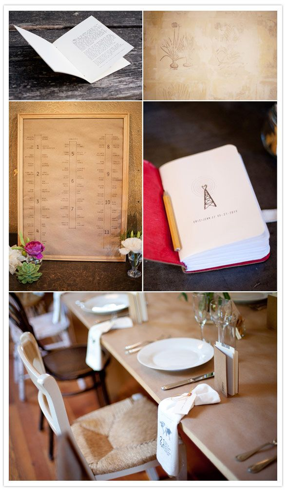 moleskine notebooks with a personal stamp in the front // table setting elegantly and simply drawn out and framed. Simple.