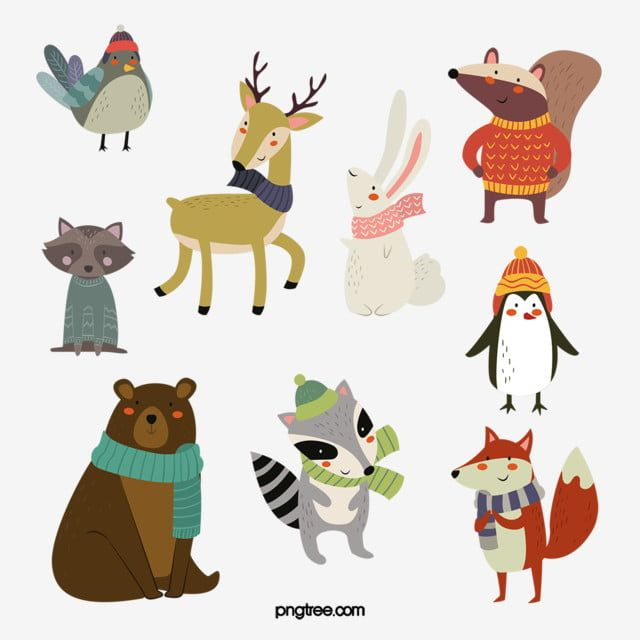 Hand Drawn Cartoon Winter Animals Animal Clipart Hand Painted Cartoon Png Transparent Clipart Image And Psd File For Free Download Animal Clipart Cartoons Png Winter Animals