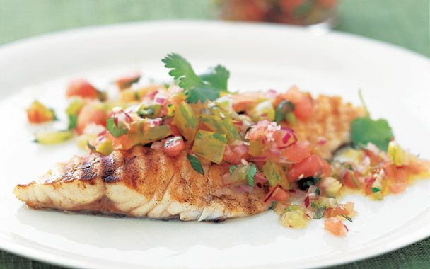 Grilled Halibut With Watermelon Salsa Recipe — Dishmaps