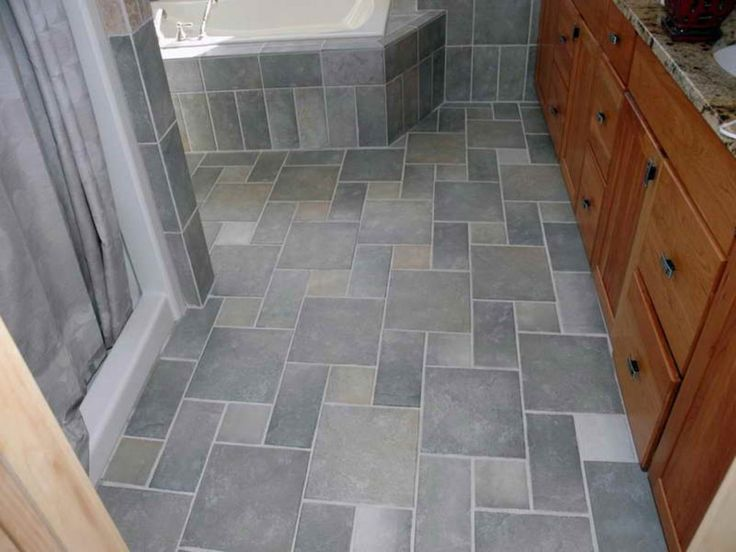 Ideas: Traditional Gray Tile Flooring Idea For Bathroom Plus Compact Vanity  Cabinets And Black Metal