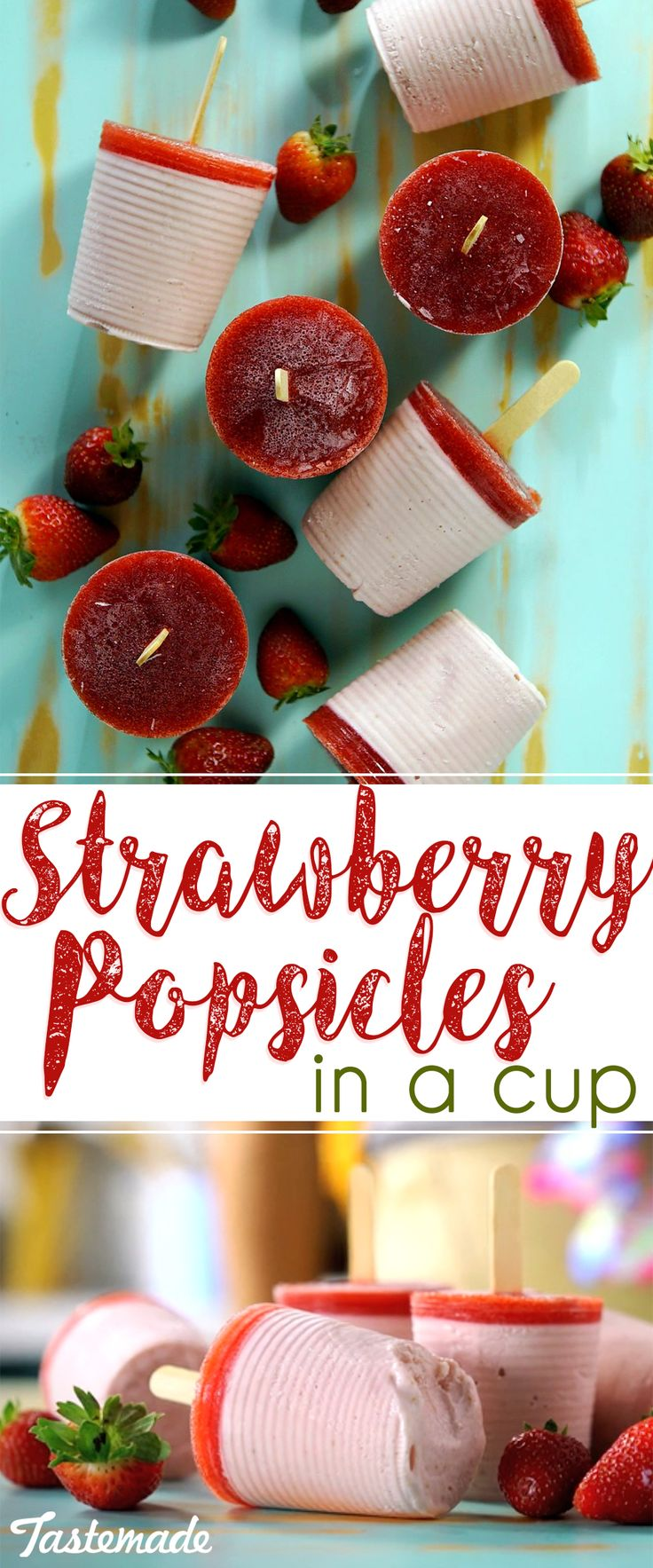 Made easily in plastic cups, these frozen strawberry treats are simple yet so tasty.