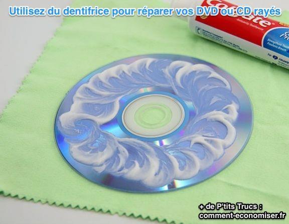 Dans une collection de DVD on a tous un, voire plusieurs titres, qui sont rayés et que l'on garde dans sa bibliothèque alors que l'on sait que l'on ne pourra plus jamais les regarder. Essayez de les réparer une bonne fois pour toutes avec cette astuce étonnante. Utilisez du dentifrice pour venir à bout des micro-rayures qui font sauter la lecture de votre DVD. Cette méthode est aussi valable pour vos vieux CD. Découvrez l'astuce ici…