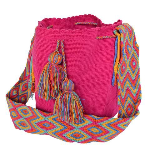 Mora Leche The bags are 100% handmade, using various weaving techniques and sizes. The patterns, shading, and detail vary from bag to bag depending on the weaver. A bag can take an experienced weaver up to a number of weeks  to complete while also tending to her family and duties as a mother. Each bag has a unique identifier code. All our Mochila Bags are carefully made from fine thread.