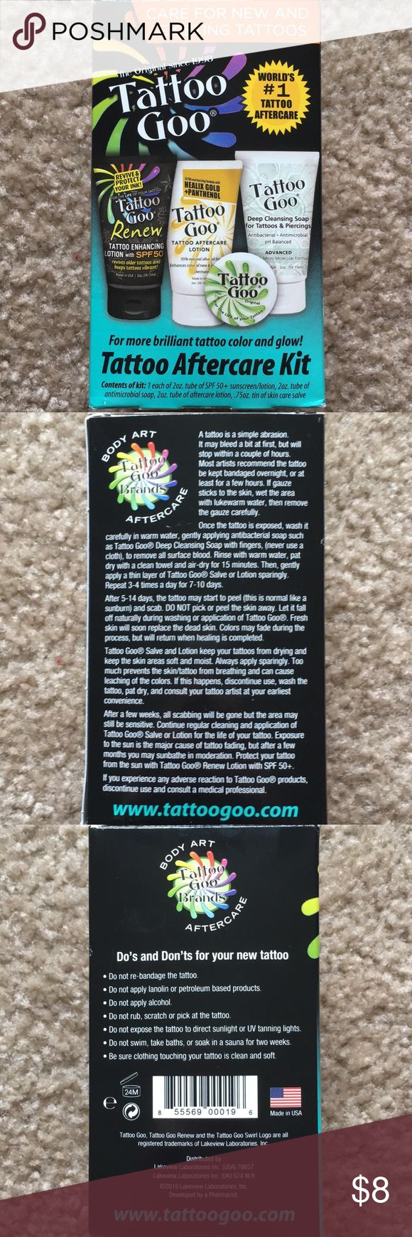 Tattoo Aftercare Kit Tattoo Goo - Tattoo Aftercare Kit  *NWOT*  Brand New! Only box was opened! Product never used!  Comes with - Tattoo Enhancing Lotion w/ SPF50+ Tattoo Aftercare Lotion Deep Cleansing Soap for Tattoos & Piercings Enhancing Color Goo  ✨Smoke Free Home ✨100% Authentic  ✨Reasonable Offers Only ⚠️*NO LOW BALL*⚠️ Flash Tattoo Other