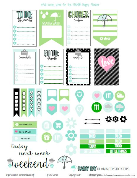 Free Printable Rainy Day Planner Stickers from Vintage Glam Studio