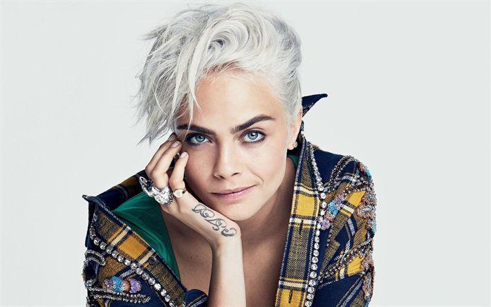 Descargar fondos de pantalla Cara Delevingne, Retrato, británico top model, joven y hermosa mujer