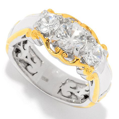 157-620 - Gems en Vogue 1.55ctw White Zircon Three-Stone Band Ring