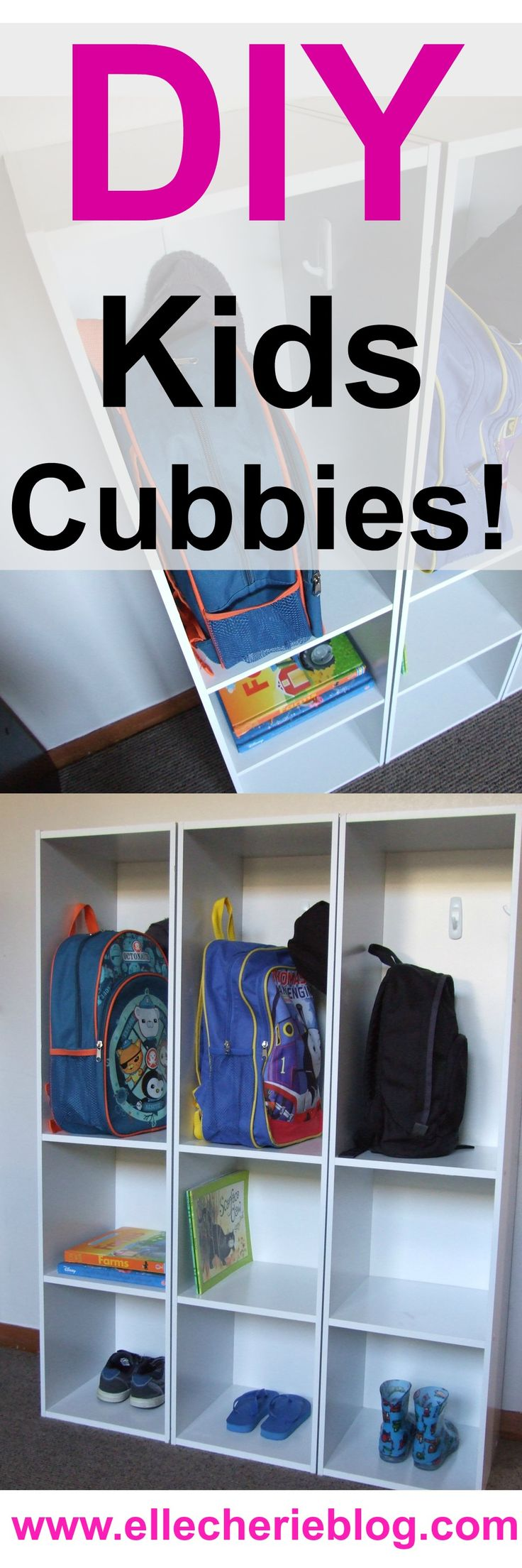 DIY Kids Cubbies. This is so simple you can do it today! Great for storing kids items and providing a place for them to put things away.  Click to see more/ Pin to see later - Visit www.ellecherieblog.com