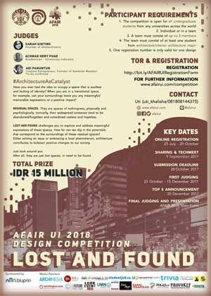 #AFAIR #UI #Jakarta #Indonesia #Architecture #Design #Competition AFAIR UI 2018 Design Competition Lost And Found  DEADLINE: 20 October 2017  http://instuco.com/international-student-competition.php?title=afair-ui-2018-design-competition-lost-and-found