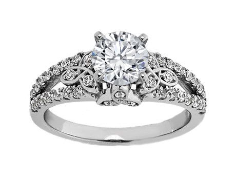 Diamond Celtic Engagement Ring with Split Band In 14k White Gold