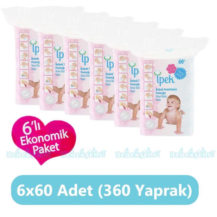İpek Bebek Temizleme Pamuğu Fırsat Paketi 60'lı x 6 Paket (360 Yaprak)